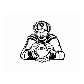 Fortune Teller Eye on Crystall Ball Woodcut Postcard