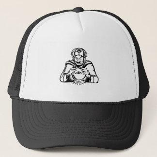 Fortune Teller Eye on Crystall Ball Woodcut Trucker Hat