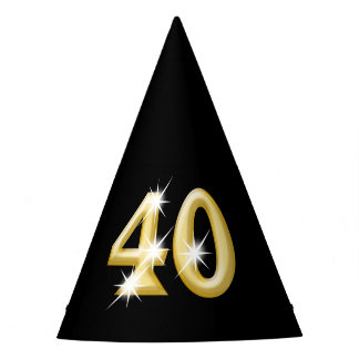 Forty fortieth birthday black gold party hat