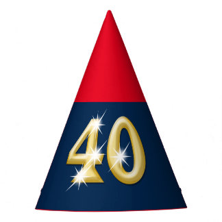 Forty fortieth birthday blue red party hat