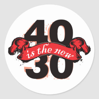Forty Is The New Thirty - Red Round Sticker