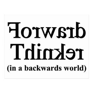 Forward thinker in backwards world postcard
