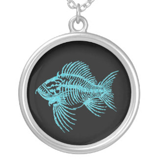 Fossil Fish Silver Plated Necklace