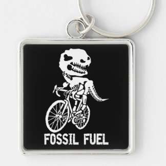 Fossil fuel Silver-Colored square keychain