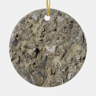 Fossil Hash Print Round Ceramic Ornament