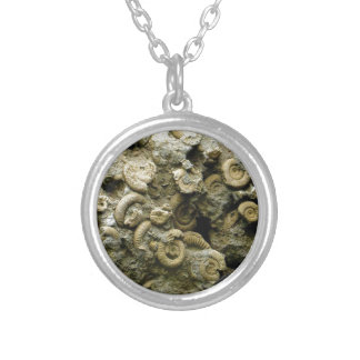 fossil shells art silver plated necklace