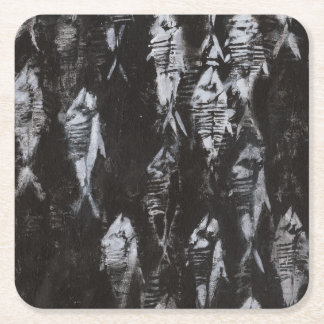 Fossil White Fish on Black Background Square Paper Coaster