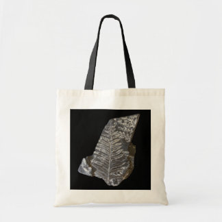 Fossilized Fern Leaves Photo on Black Tote Bag