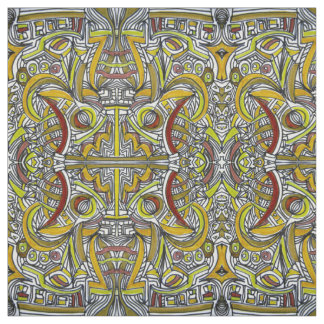 Fossils - Colorful Abstract Art Ink Drawing Fabric