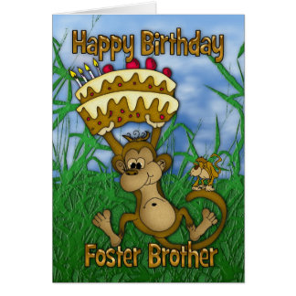 Foster Brother Happy Birthday with monkey holding Greeting Card