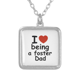 foster dad design silver plated necklace