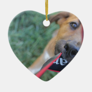 Foster Dog Tug of War Ceramic Heart Ornament
