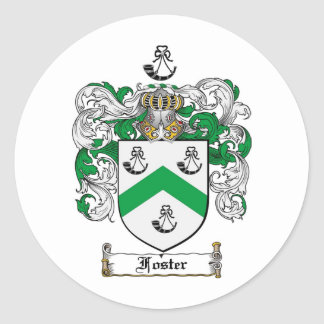 FOSTER FAMILY CREST -  FOSTER COAT OF ARMS CLASSIC ROUND STICKER