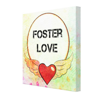 Foster Love Watercolor Heart Canvas Print