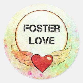 Foster Love Watercolor Heart Classic Round Sticker