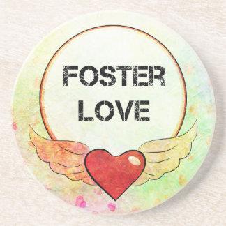 Foster Love Watercolor Heart Coaster