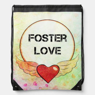 Foster Love Watercolor Heart Drawstring Bag