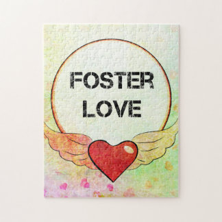 Foster Love Watercolor Heart Jigsaw Puzzle