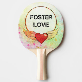 Foster Love Watercolor Heart Ping Pong Paddle