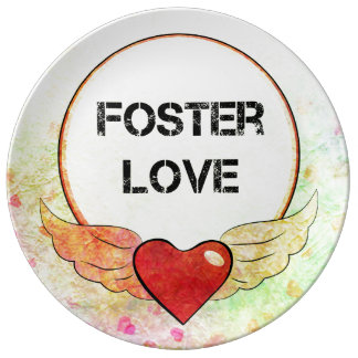 Foster Love Watercolor Heart Plate