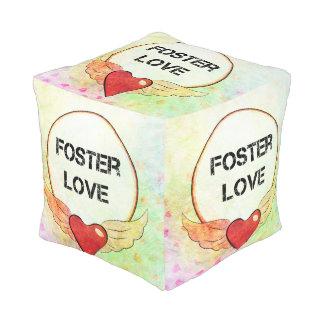 Foster Love Watercolor Heart Pouf