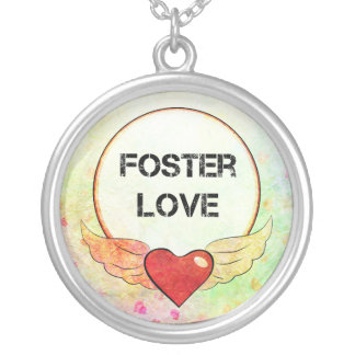 Foster Love Watercolor Heart Silver Plated Necklace