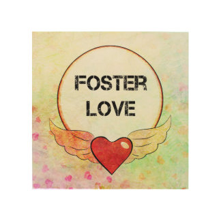 Foster Love Watercolor Heart Wood Wall Decor
