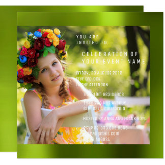 Foto Birthday Party Cali Green Metal Card