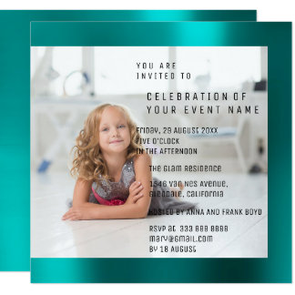 Foto Birthday Party Mother Pearl Teal Metallic Card
