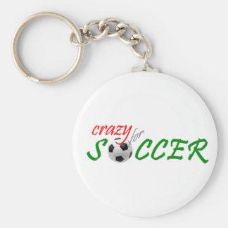 Fou pour le football porte-clé rond