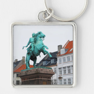 Founder of Copenhagen Absalon - Højbro Plads Silver-Colored Square Keychain