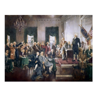 Founding Fathers Signing the US Constitution Postcard