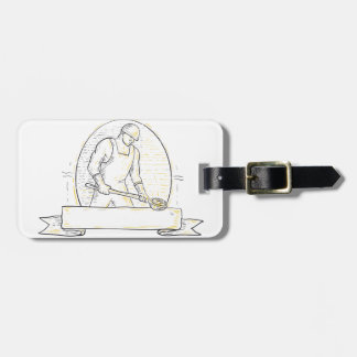 Foundry Worker Steel Ladle Miono Line Luggage Tag