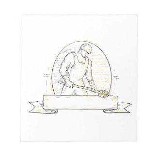 Foundry Worker Steel Ladle Miono Line Notepad