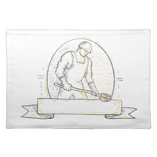 Foundry Worker Steel Ladle Miono Line Placemat