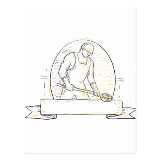 Foundry Worker Steel Ladle Miono Line Postcard