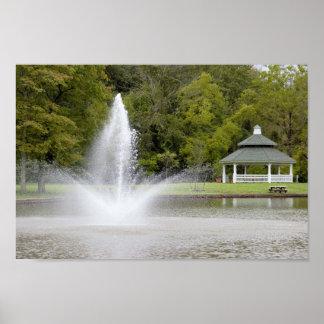 Fountain and Gazebo Poster