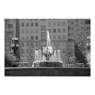 "Fountain and ""House on the Embankment"" Photo Print"
