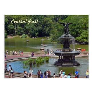 Fountain and Lake in Central Park, New York City Poster