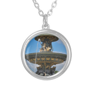 Fountain at Place de Concorde in Paris, France Silver Plated Necklace
