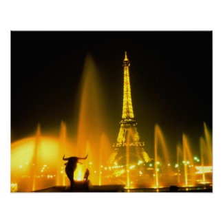 Fountain at the world famous Eiffel Tower Paris Poster