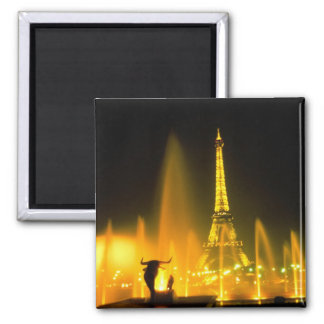 Fountain at the world famous Eiffel Tower Paris Square Magnet
