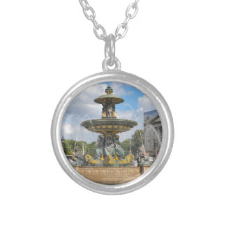 Fountain in Place de Concorde in Paris, France Silver Plated Necklace