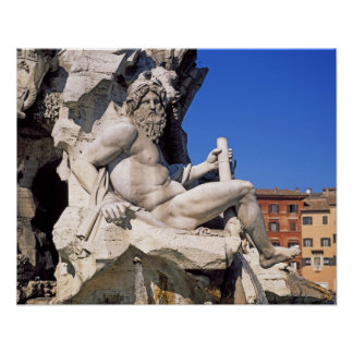 Fountain of Four Rivers on Piazza Navona. Rome, Poster