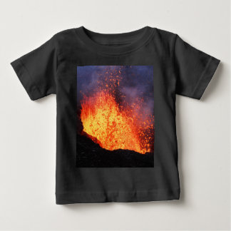 Fountain of hot lava erupts from crater volcano baby T-Shirt