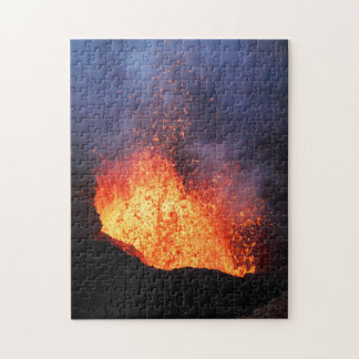 Fountain of hot lava erupts from crater volcano jigsaw puzzle