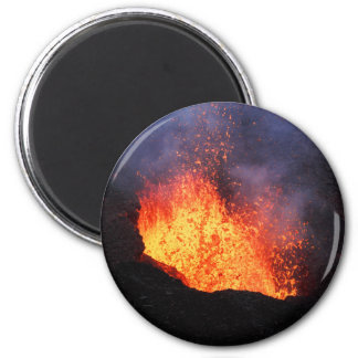 Fountain of hot lava erupts from crater volcano magnet