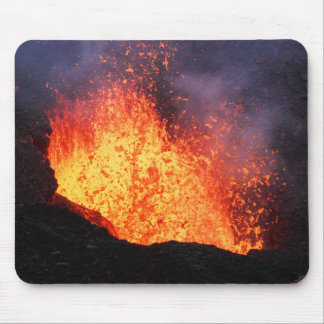 Fountain of hot lava erupts from crater volcano mouse pad