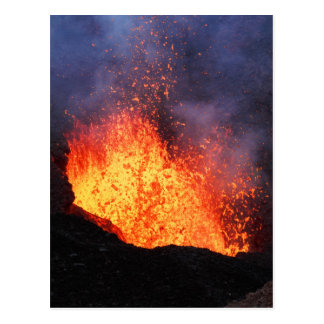 Fountain of hot lava erupts from crater volcano postcard
