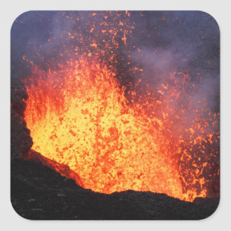 Fountain of hot lava erupts from crater volcano square sticker
